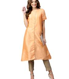 Peach Plain Art Silk Long Kurti