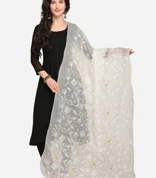 White Net Embroidered Women's Dupatta