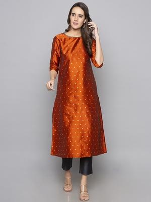 Maroon woven art silk long kurti