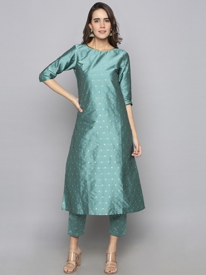 Teal woven art silk long kurti