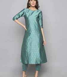 Teal woven art silk long kurti
