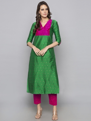 Green woven art silk long kurti