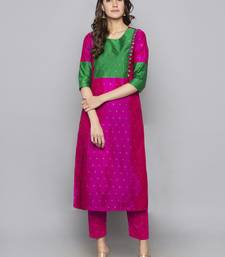 Pink woven art silk long kurti
