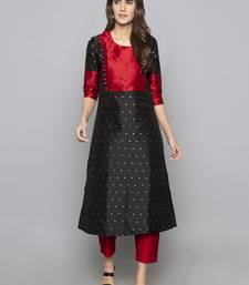 Black woven art silk long kurti