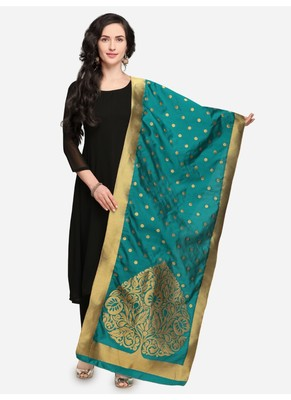 Turquoise Banarasi Silk Women's Dupatta
