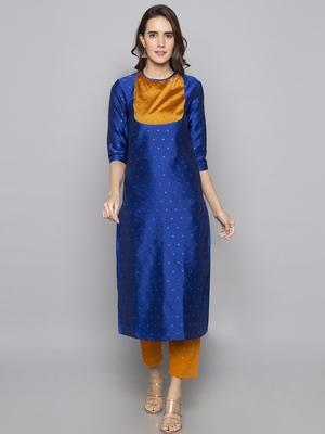 Blue woven art silk long kurti
