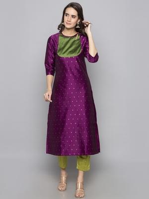 Violet woven art silk long kurti