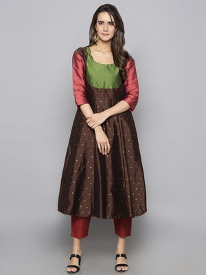 Charcoal woven art silk long kurti