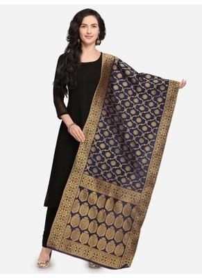 Navy Blue Banarasi Silk Women's Dupatta