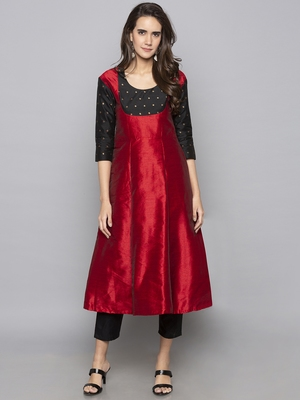Red woven art silk long kurti