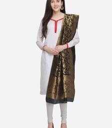 Black Banarasi Silk Women's Dupatta