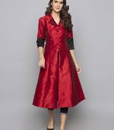 Red woven art silk long kurti