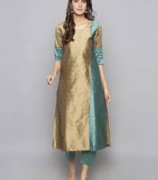 Grey woven art silk long kurti