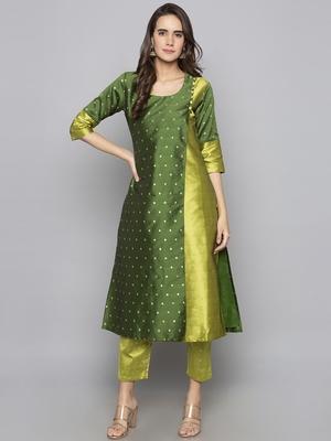 Green woven art silk long kurti