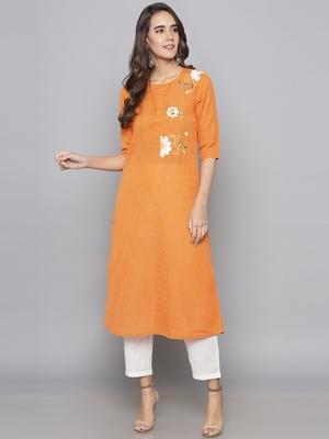 Orange embroidered cotton long kurti