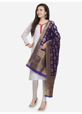 Purple Banarasi Silk Women's Dupatta