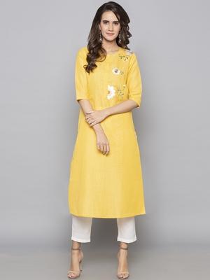 Yellow embroidered cotton long kurti
