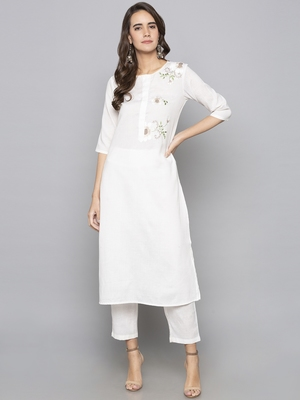 Off-white embroidered cotton long kurti