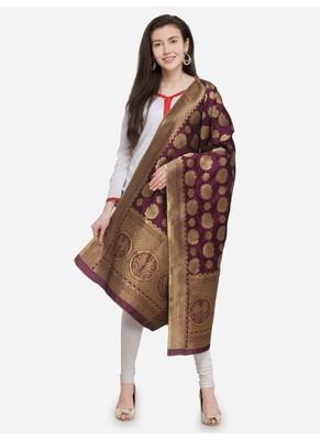 Magenta Banarasi Silk Women's Dupatta