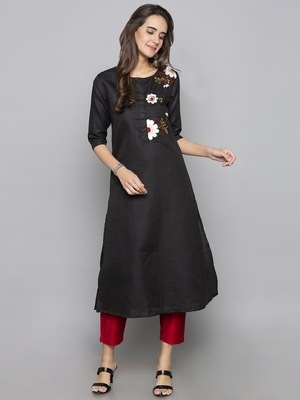 Grey embroidered cotton long kurti