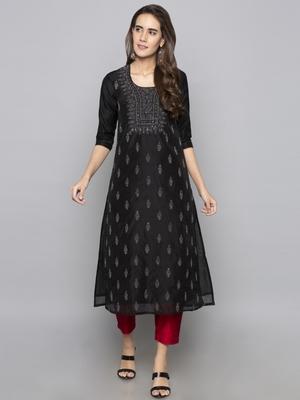 Grey embroidered cotton long kurti