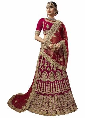 Maroon embroidered velvet semi stitched lehenga with dupatta