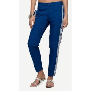 Poplin Blue Poplin Fabric Slim Fit Embroidered Cigarette Pants For Women's