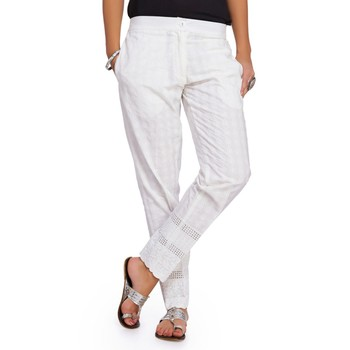 Cambric White Cambric Fabric Slim Fit Embroidered Cigarette Pants For Women's