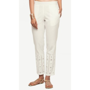 Cotton White Cotton Fabric Slim Fit Embroidered Cigarette Pants For Women's