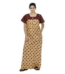 Red & beige colour geometrical design printed square neck cotton nighty for ladies nightwear
