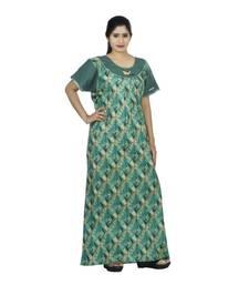 Green & beige colour checks design printed round  neck cotton nighty for ladies nightwear