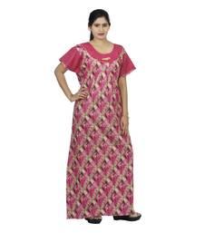 68c53af540 Pink   beige colour checks design printed round neck cotton nighty for  ladies nightwear