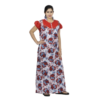 Red & white colour floral design printed collar neck cotton nighty for ladies nightwear