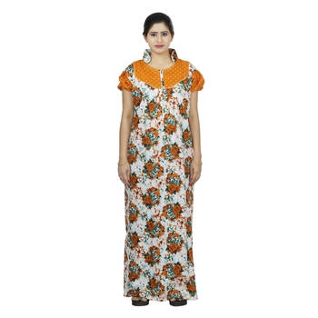 Yellow & white colour floral design printed collar neck cotton nighty for ladies nightwear