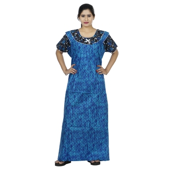Blue & black colour dots design printed round  neck cotton nighty for ladies nightwear