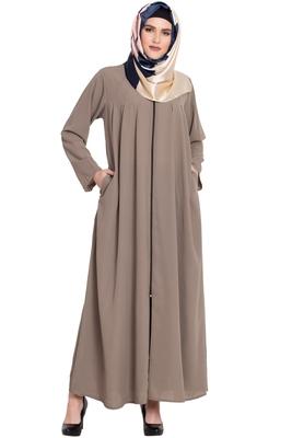 Beige front open Zipper kashibo abaya