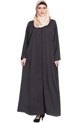 Dark Grey front open Nida Zipper abaya