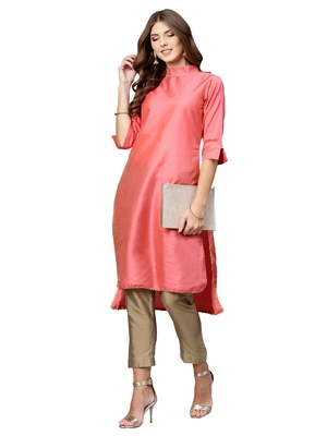 Pink Plain Art Silk Long Kurti