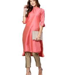 Pink Plain Art Silk Long Kurti