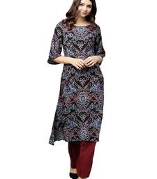 Black Printed Art Silk Long Kurti