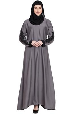 Grey Designer sleeves Nida abaya