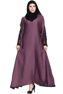 Purple plain nida abaya