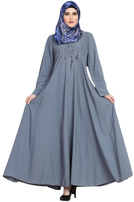 Light-grey Large flare Embroidery kashibo abaya