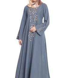 Grey embroidery large flare kashibo abaya