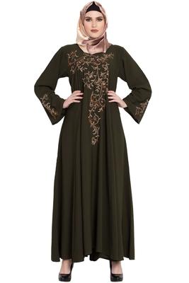 Green plain kashibo abaya