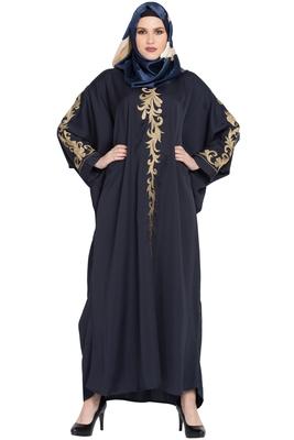 Navy-blue Embroidery Kaftan Nida abaya