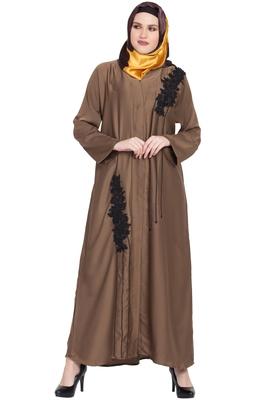 Gold plain nida abaya