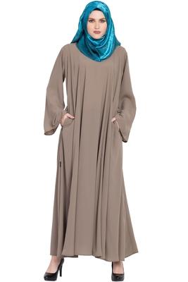 Beige plain kashibo abaya