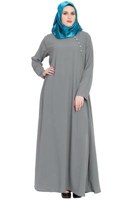 Grey plain kashibo abaya