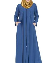 Royal-blue plain kashibo abaya